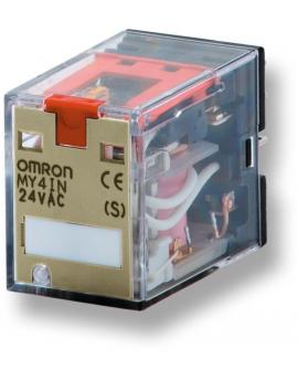 MY4IN48DCS   4PDT 5A indicador pulsador prueba enchuf/soldar  O-E